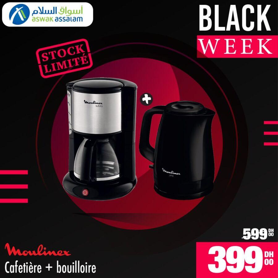 Black Week Aswak Assalam Cafetière + Bouilloire MOULINEX 399Dhs au lieu de 599Dhs