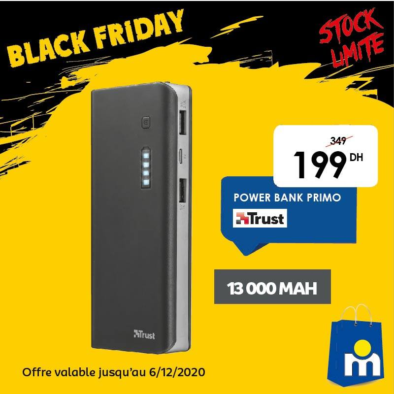 Offre Black Friday Marjane Support Power bank TRUST 199Dhs au lieu de 349Dhs