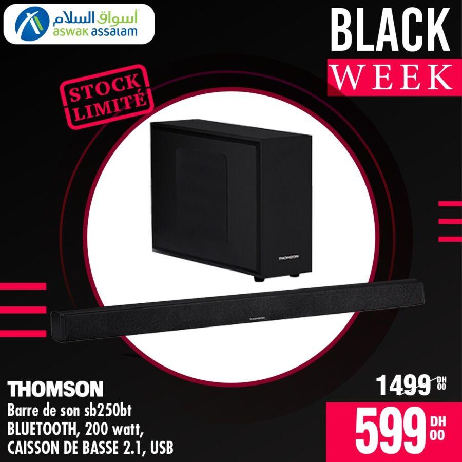 Black Week Aswak Assalam Barre de son Bluetooth THOMSON 599Dhs au lieu de 1499Dhs