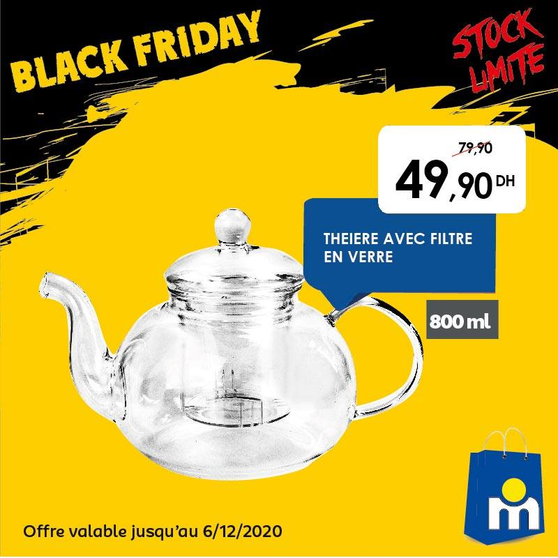 Offre Black Friday Marjane Théière en verre avec filtre 50Dhs au lieu de 80Dhs