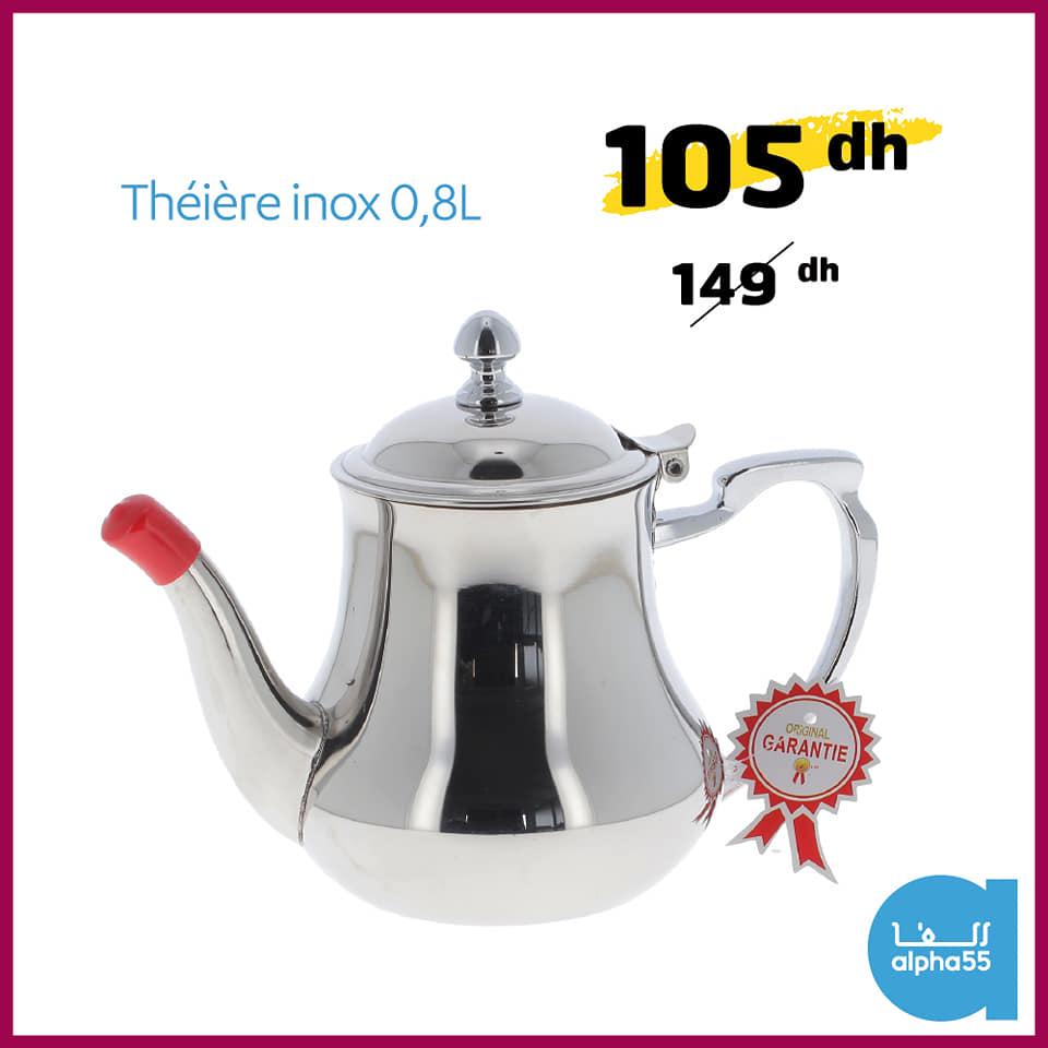Offre Promotionnel chez Alpha55 Théière en inox 0.8L 105Dhs au lieu de 149Dhs