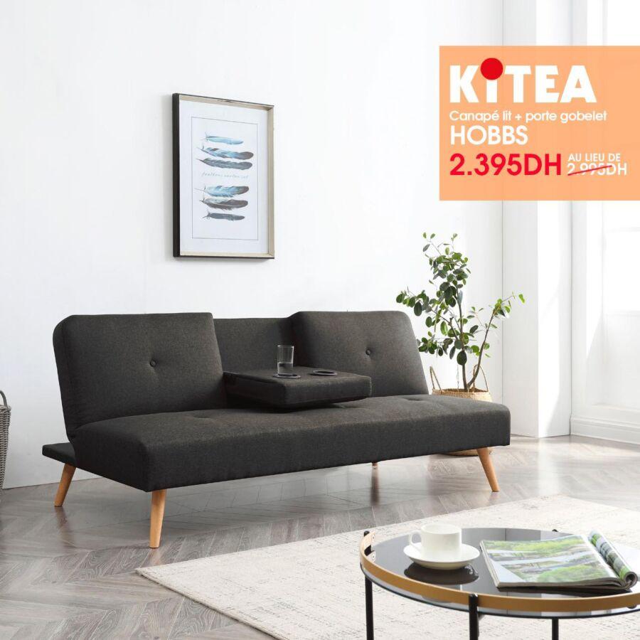 Soldes Kitea Canapé lit + porte gobelet HOBBS 2395Dhs au lieu de 2995Dhs