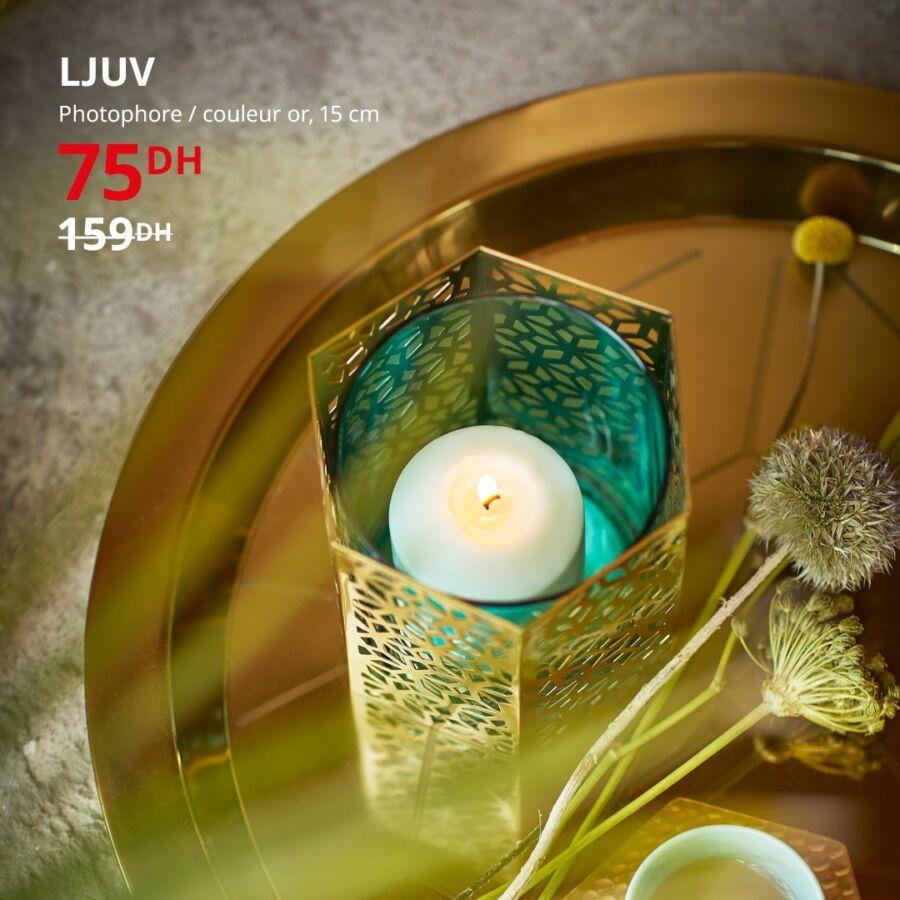Soldes Ikea Maroc Photophore couleur or LJUV 75Dhs au lieu de 159Dhs