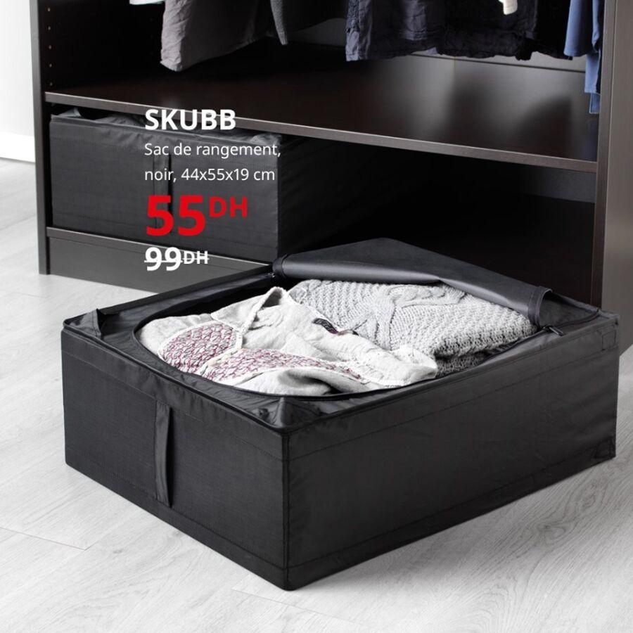 Soldes Ikea Maroc Sac de rangement noir SKUBB 55Dhs au lieu de 99Dhs