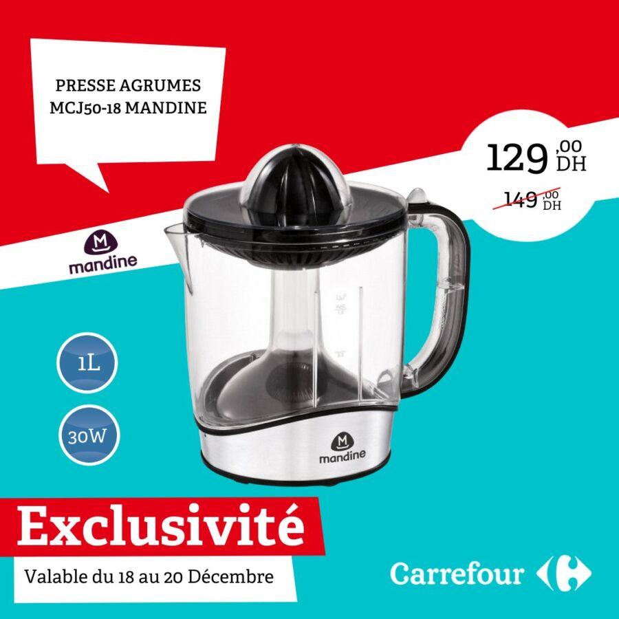 Exclusivité Carrefour Maroc Presse Agrumes MANDINE du 18 au 20 Décembre 2020