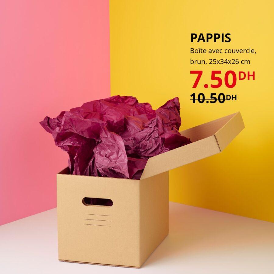 Soldes Ikea Maroc Boîte avec couvercle brun PAPPIS 7.50Dhs au lieu de 10.50Dhs