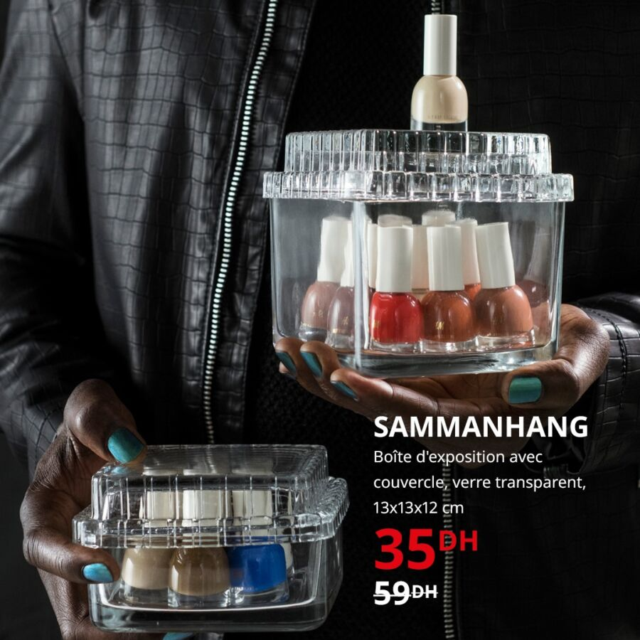Soldes Ikea Maroc Boîte d'exposition avec couvercle transparente SAMMANHANG 35Dhs au lieu de 59Dhs