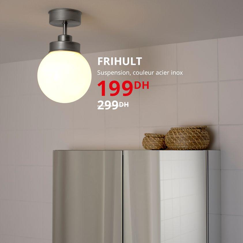 Soldes Ikea Maroc Suspension couleur acier inox FRIHULT 199Dhs au lieu de 299Dhs