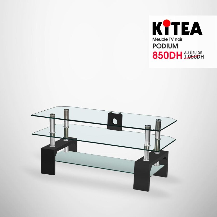 Prix Spéciale Kitea Meuble TV noir PODIUM à 850Dhs au lieu de 1050Dhs