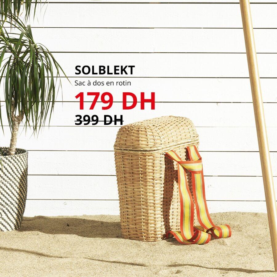 Soldes Ikea Maroc Sac à dos en rotin SOLBLEKT 179Dhs au lieu de 399Dhs