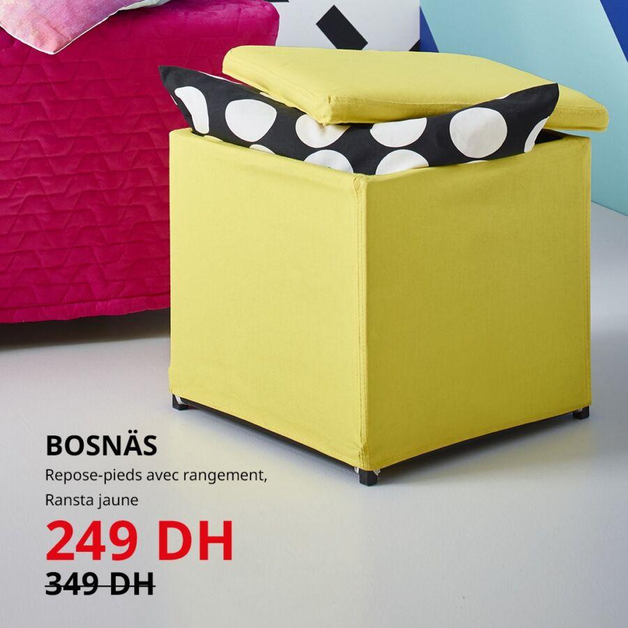 Soldes Ikea Maroc Repose-pieds avec rangement BOSNAS 249Dhs au lieu de 349Dhs