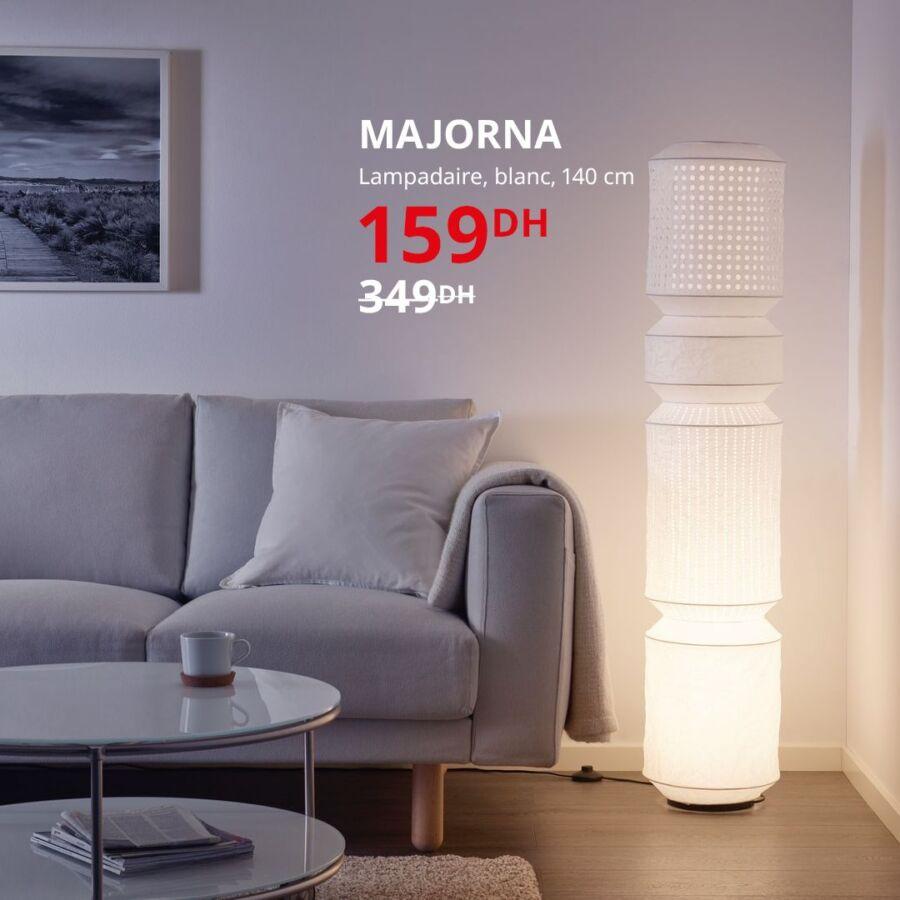 Soldes Ikea Maroc Lampadaire blanc MAJORNA 159Dhs au lieu de 349Dhs