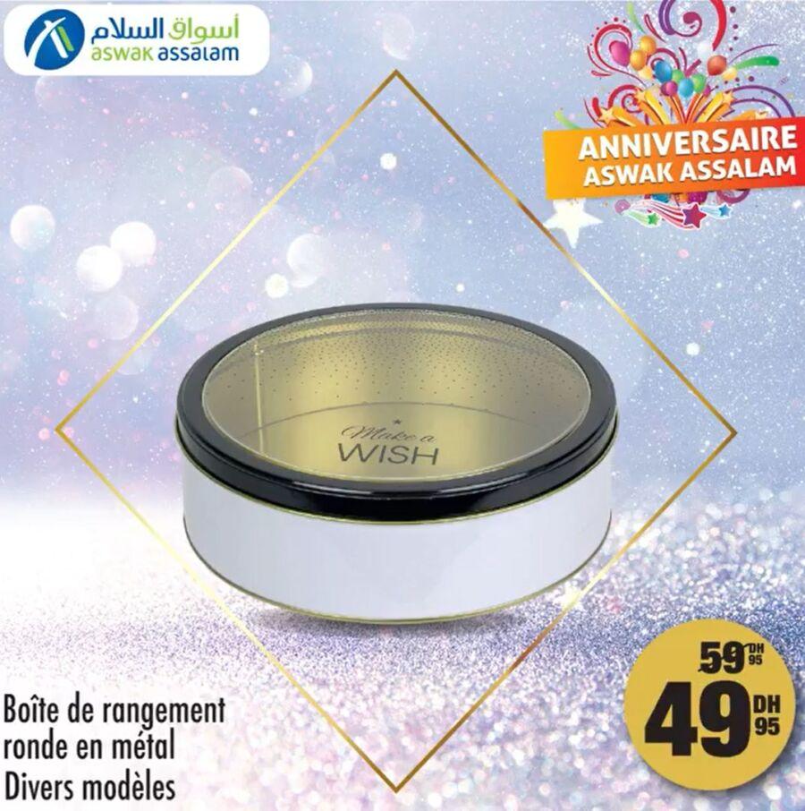 Soldes Aswak Assalam Boîte de rangement rond divers modèles 49Dhs au lieu de 45Dhs