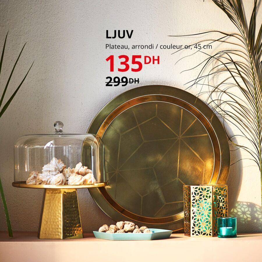 Soldes Ikea Maroc Plateau arrondi couleur or LJUV 135Dhs au lieu de 299Dhs