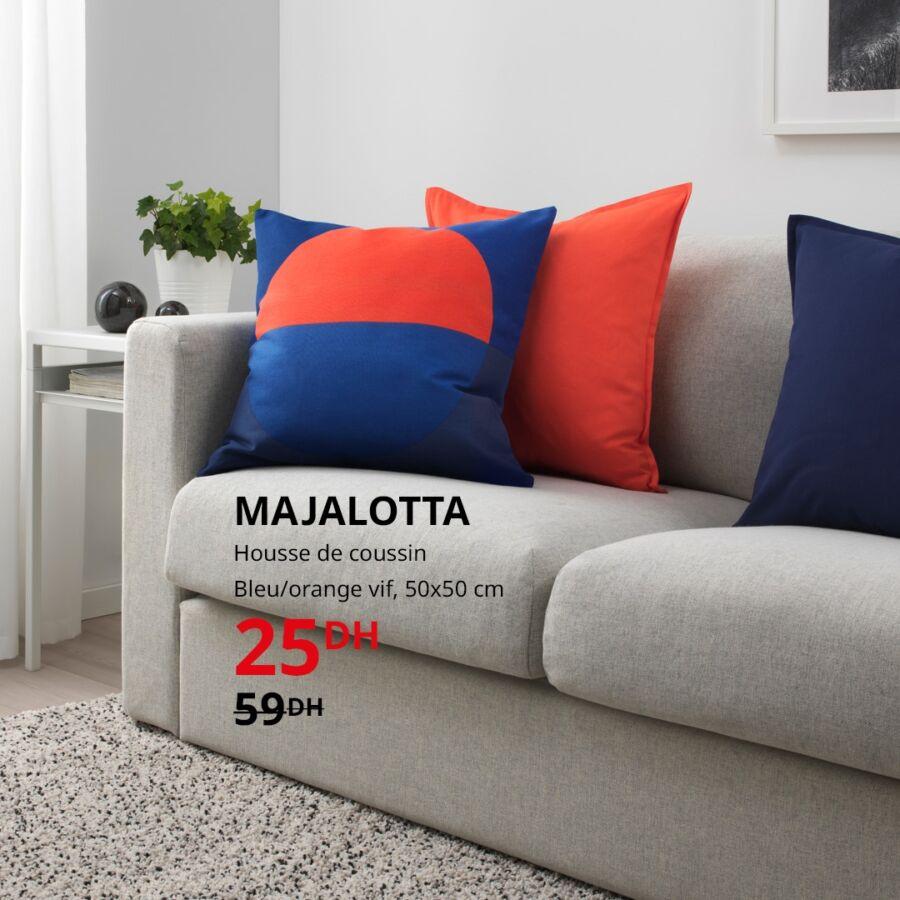 Soldes Ikea Maroc Housse de coussin bleu/orange MAJALOTTA ...