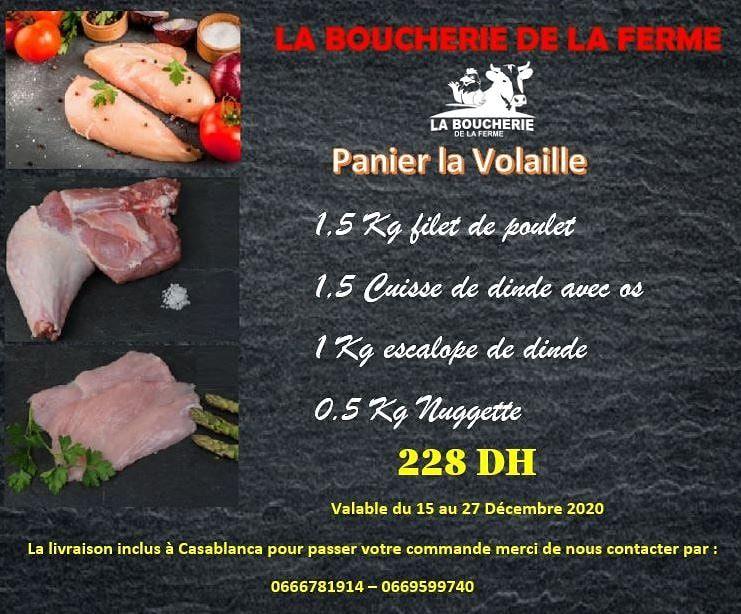 Promo Spécial Panier Volaille chez La Boucherie de la ferme 228Dhs au lieu de 257Dhs