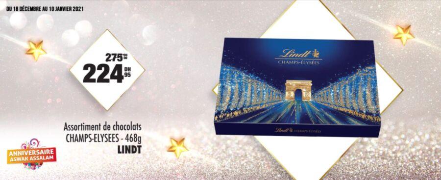 Soldes Aswak Assalam Assortiment chocolats LINDT 225Dhs au lieu de 275Dhs