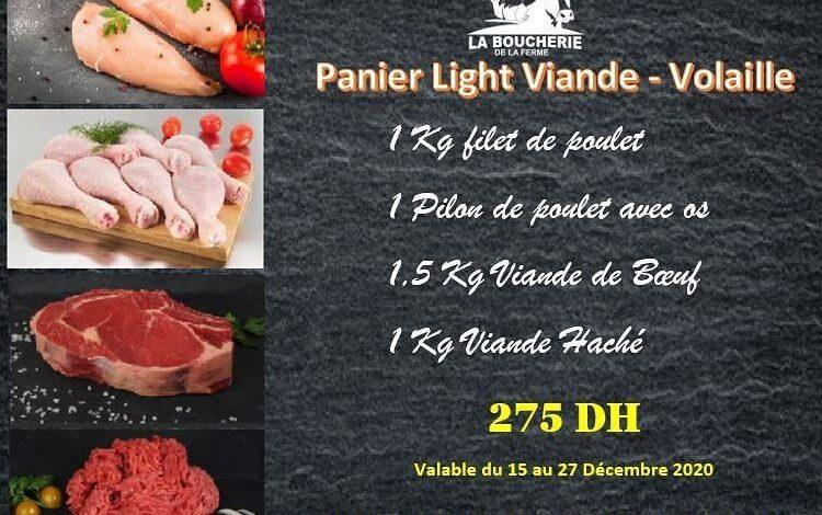 Promo Spécial Panier Light Viande - Volaille La Boucherie de la ferme 257Dhs au lieu de 300Dhs