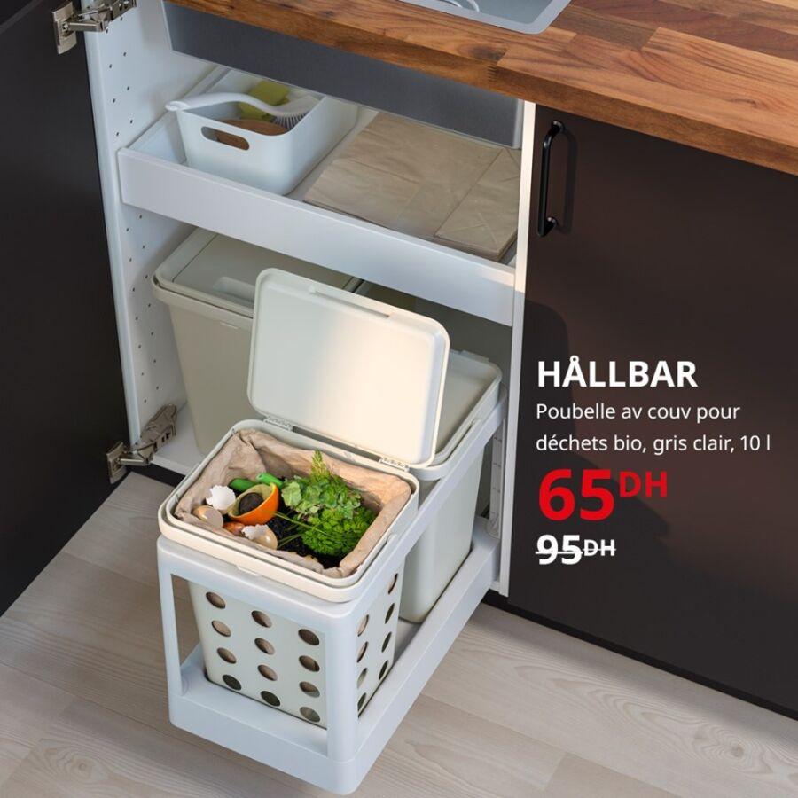 Soldes Ikea Maroc Poubelle pour déchets bio gris clair 10L 65Dhs au lieu de 95Dhs