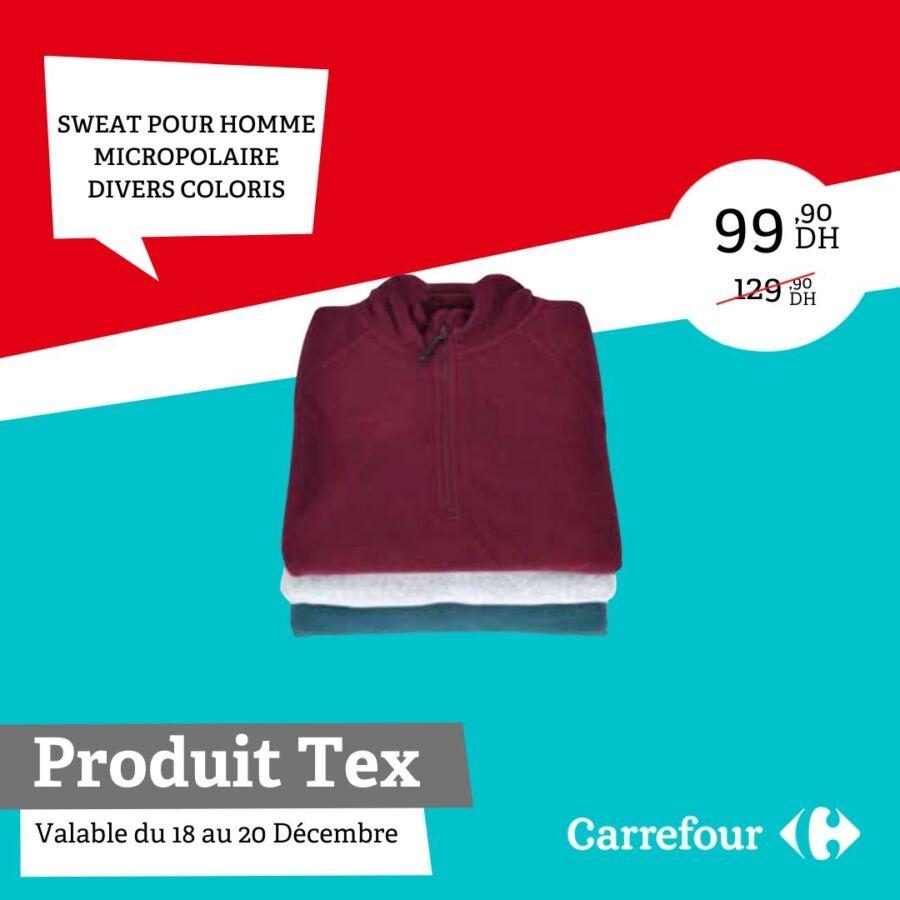 Exclusivité Carrefour Maroc Sweat pour homme Micropolaire divers coloris 99Dhs au lieu de 129Dhs