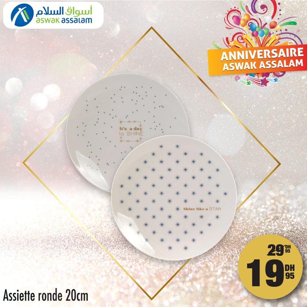 Soldes Aswak Assalam Assiette ronde 20cm 19Dhs au lieu de 29Dhs
