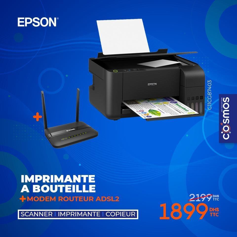 Promo Cosmos Electro Imprimante EPSON + Routeur DLINK 1899Dhs au lieu de 2199Dhs