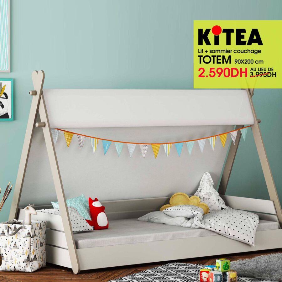 Prix Spécial Kitea Lit + Sommier couchage TOTEM 2590Dhs au lieu de 3995Dhs