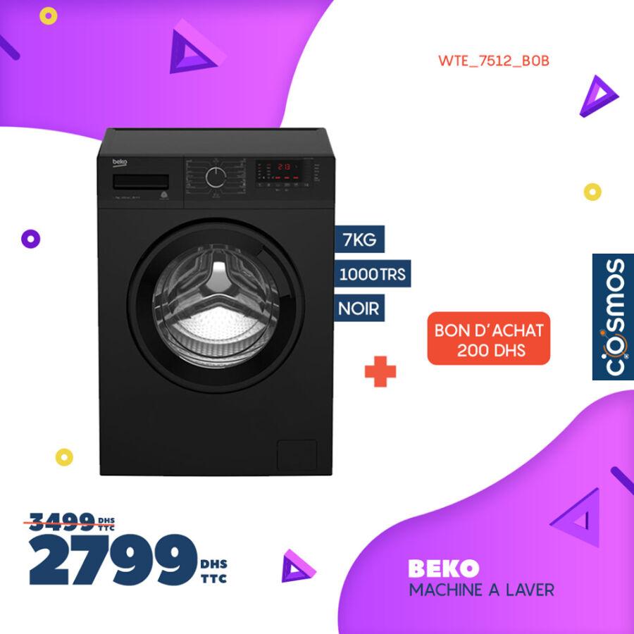 Soldes Cosmos Electro Lave linge BEKO 7Kg + Bon d'achat 2799Dhs au lieu de 3499Dhs