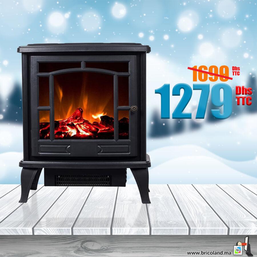 Promo Bricoland Maroc Cheminée électrique poêle R'PUR 1279Dhs au lieu de 1690Dhs