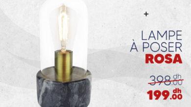 Promo chez Bricoma Lampe à poser ROSA 199Dhs au lieu de 398Dhs