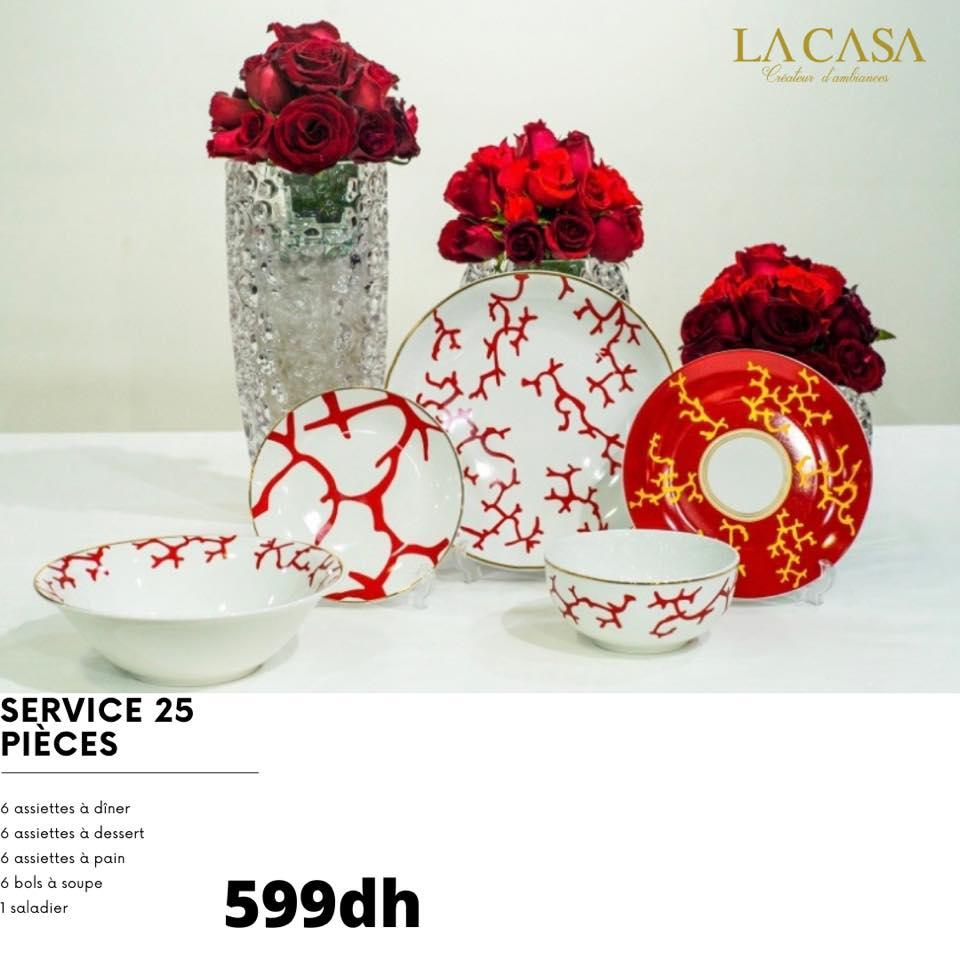 Nouveaux designs de services de tables 25pieces en porcelaine chez La Casa Créateur d'ambiances