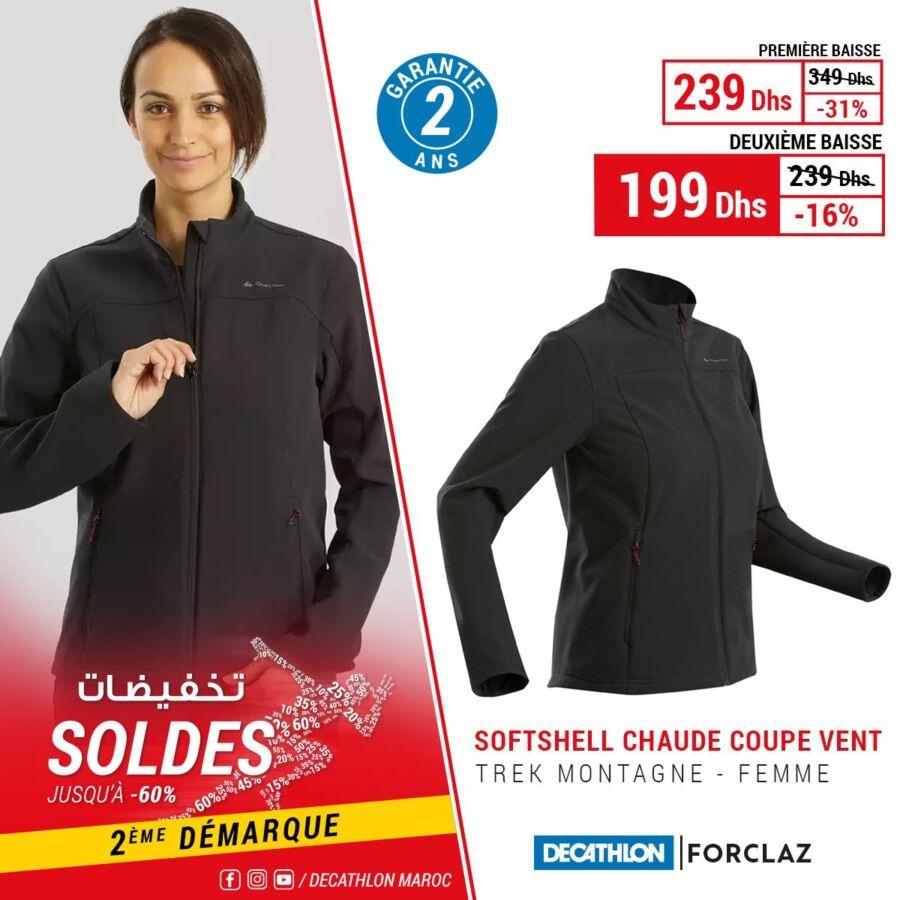 Soldes Decathlon Maroc Softshell chaude coupe vent FORCLAZ 199Dhs au lieu de 349Dhs