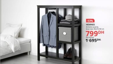 Soldes Ikea Maroc Armoire ouverte brun noir HEMNES 799Dhs au lieu de 1695Dhs