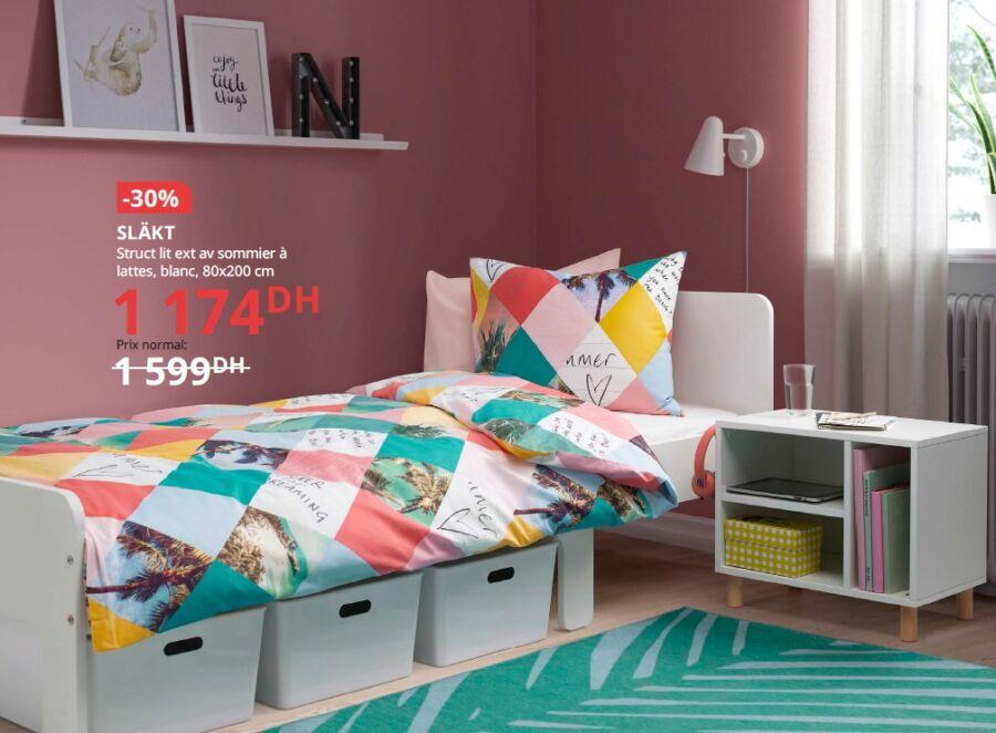 Soldes Ikea Maroc Structure lit ext av sommier à lattes 1174Dhs au lieu de 1599Dhs