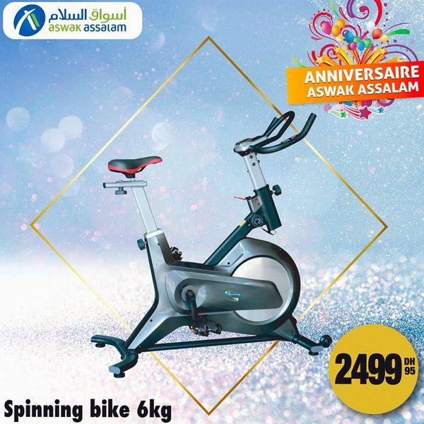 Offres Anniversaire chez Aswak Assalam Spinning bike 6Kg à 2499Dhs