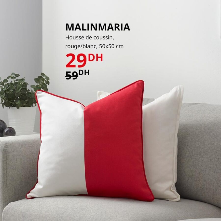 Soldes Ikea Maroc Housse de coussin rouge/blanc 50x50cm 29Dhs au lieu de 59Dhs