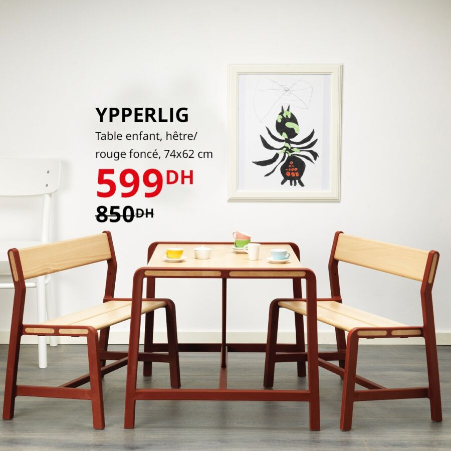 Soldes Ikea Maroc Table enfant hêtre/rouge foncé YPPERLIG 599Dhs au lieu de 850Dhs