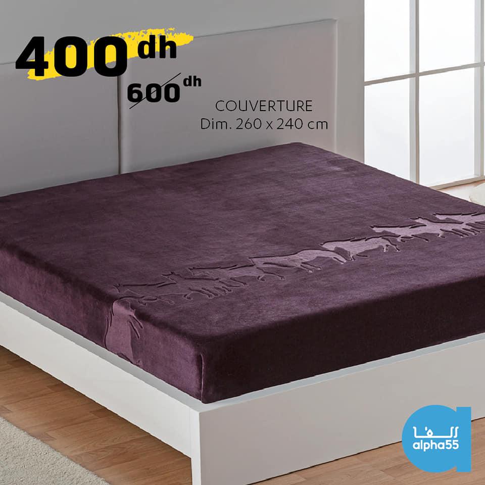 Offre Promotionnel chez Alpha55 Couverture 260c240cm 400Dhs au lieu de 600Dhs