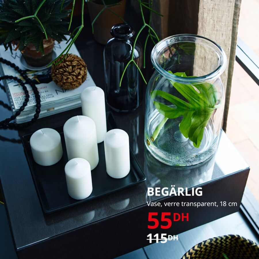 Soldes Ikea Maroc Vase en verre transparent 18cm BEGARLIG 55DDhs au lieu de 115Dhs