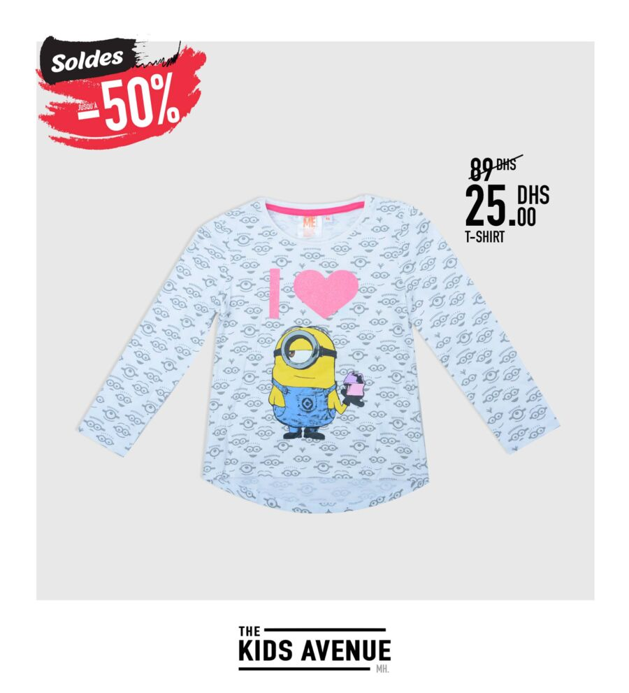 Soldes Kids Avenue chez Miro Home T-shirt divers coloris 25Dhs au lieu de 89Dhs