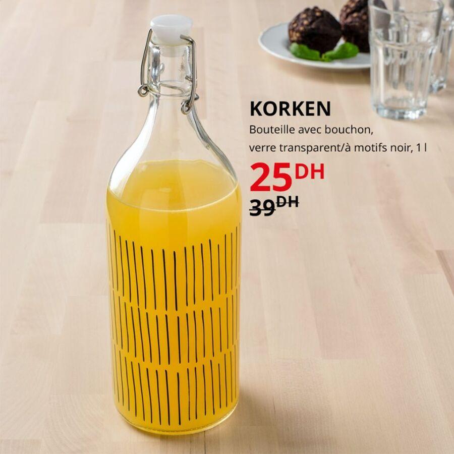 Soldes Ikea Maroc Bouteille 1L avec bouton KORKEN 25Dhs au lieu de 39Dhs