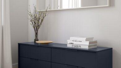 Soldes Ikea Maroc Commode 4 tiroirs bleu noir NORDMELA 1795Dhs au lieu de 2495Dhs