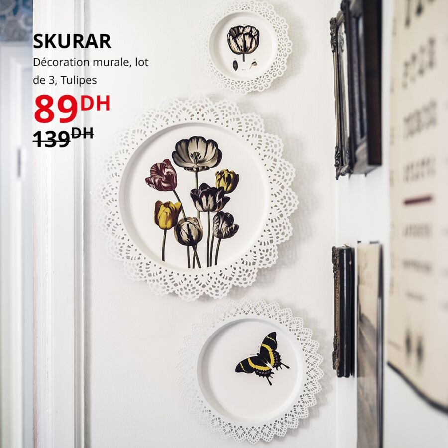 Soldes Ikea Maroc Décoration mural lot de 3 tulipes SKURAR 89Dhs au lieu de 139Dhs