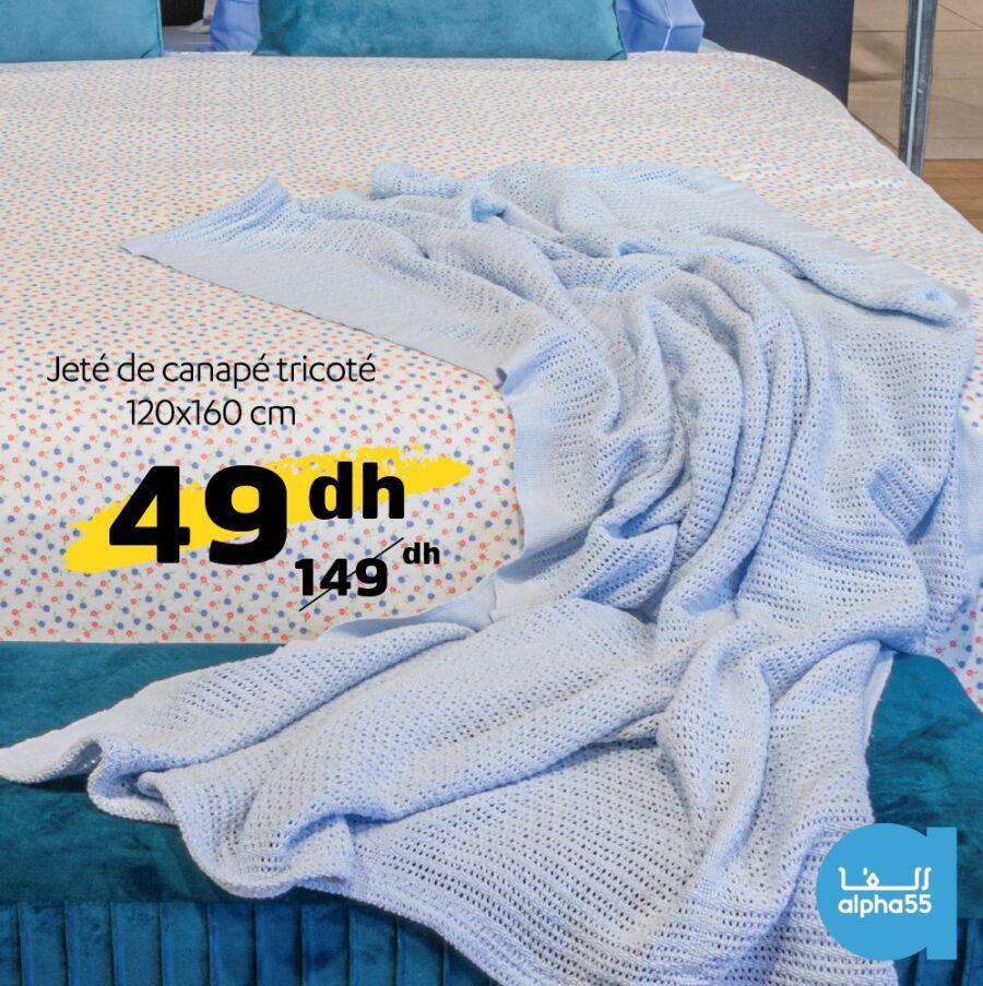 Soldes chez Alpha55 Jeté de canapé tricoté 120x160cm 49Dhs au lieu de 149Dhs