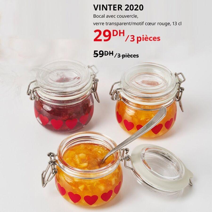 Soldes Ikea Maroc 3 Bocaux avec couvercles VINTER 2020 à 29Dhs au lieu de 59Dhs