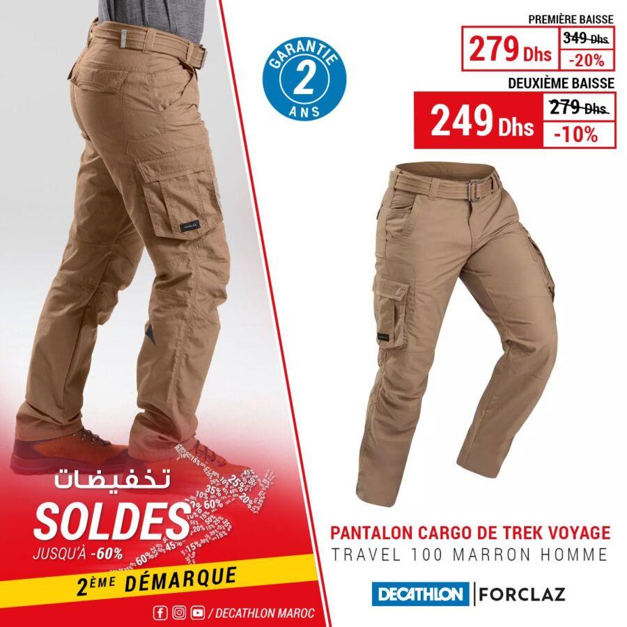 Soldes Decathlon Maroc Pantalon cargo FORCLAZ 249Dhs au lieu de 349Dhs