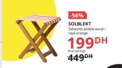 Soldes Ikea Maroc Tabouret pliable rayé orange SOLBLEKT 199Dhs au lieu de 449Dhs
