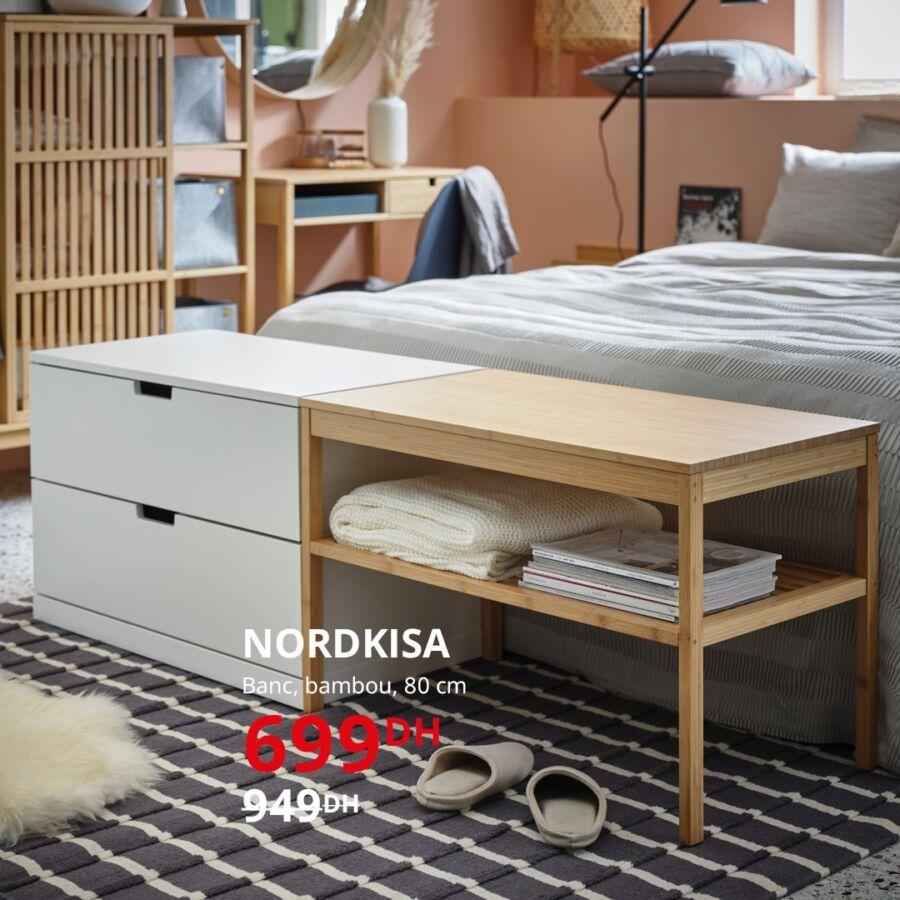Soldes Ikea Maroc Banc en bambou NORDKISA 699Dhs au lieu de 949Dhs