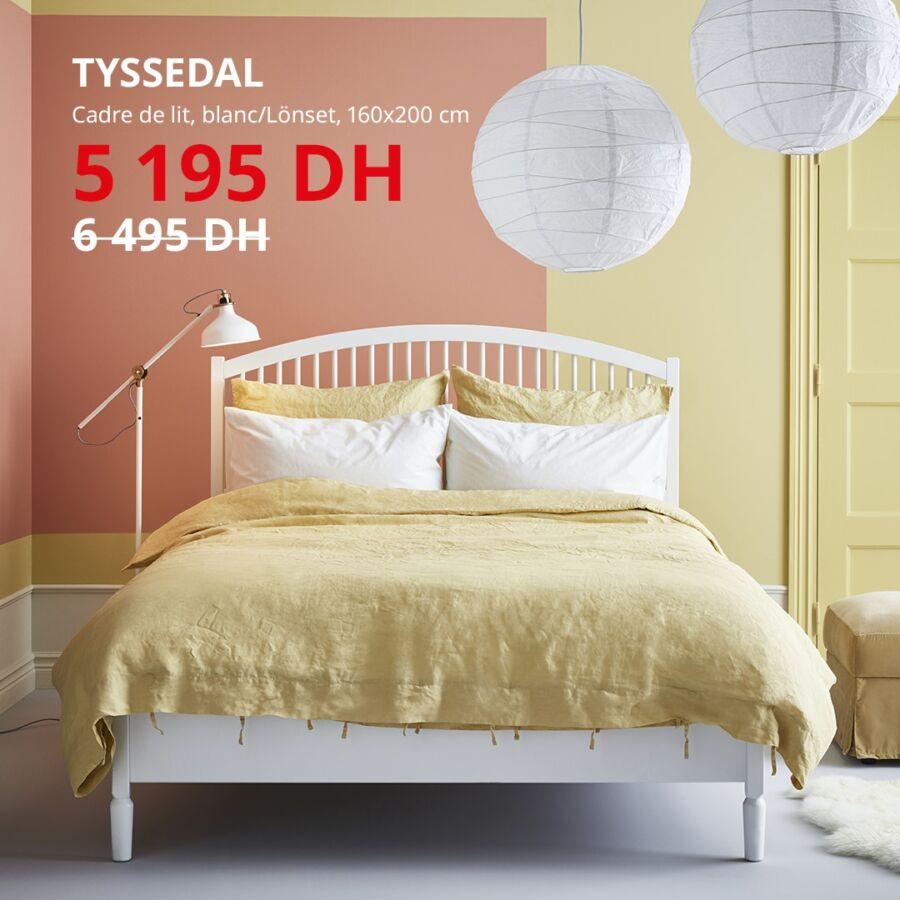 Soldes Ikea Maroc Cadre lit TYSSEDAL 5195Dhs au lieu de 6495Dhs