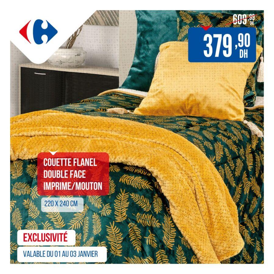 Soldes Carrefour Maroc Couette flanelle double face 380Dhs au lieu de 610Dhs